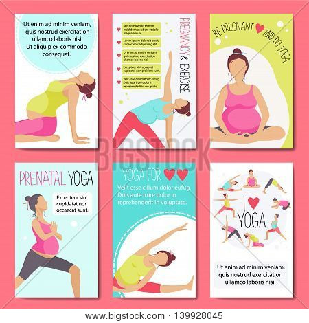 Set of banners for advertising pregnant yoga. Women doing exercise. Variants of poses. Vector illustration.