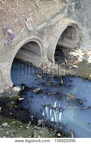 Toxic Water Running From Sewers In Dirty Underground Sewer For Dredging Drain Tunnel Cleaning