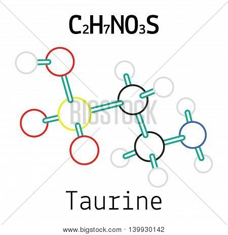 C2H7NO3S Taurine 3d molecule isolated on white