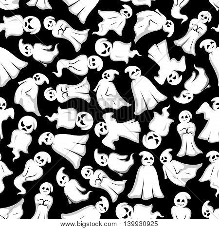 Halloween background. White ghosts seamless pattern wallpaper. Funny spooks with face expression. Smiling, laughing, scary, angry, indifferent, serious, shy, dancing, floating Cute scary artistic bogey vector cartoon characters