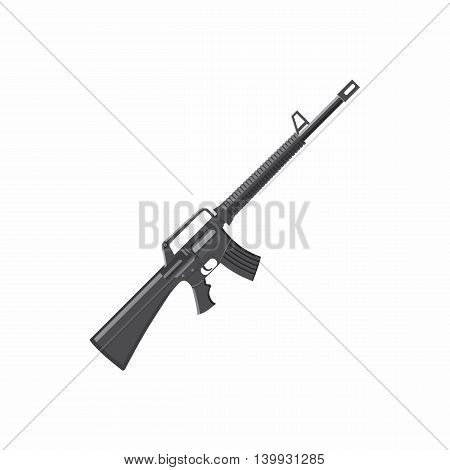 Military rifle icon in cartoon style isolated on white background. Equipment symbol
