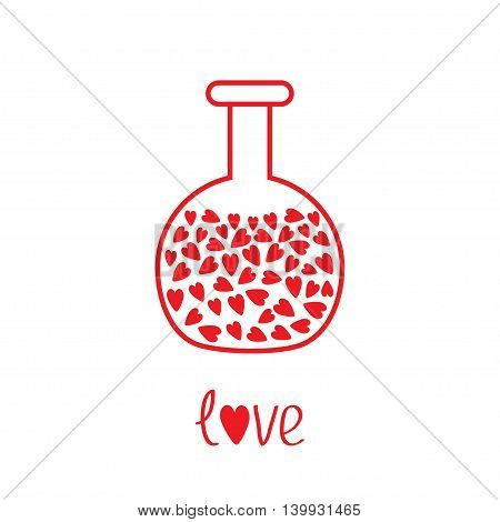 Love round laboratory glass with hearts inside. Thin line icon. Greeting card. Flat design. White background. Isolated. Vector illustration.