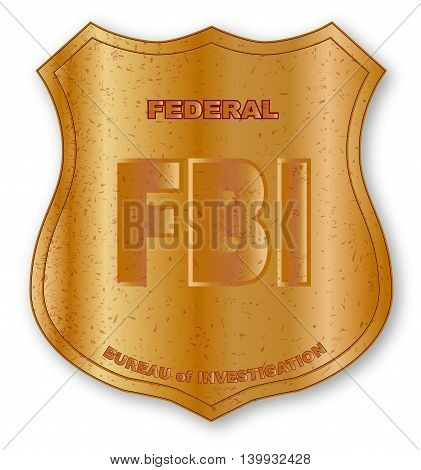 Spoof FBI shield badge isolated on white.