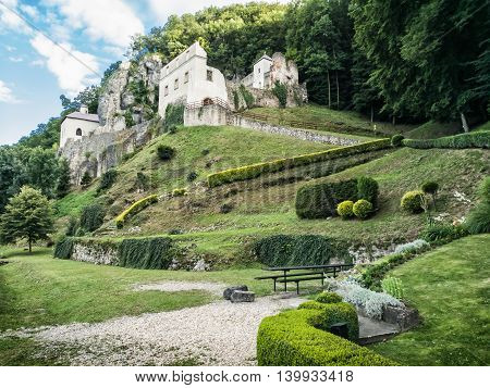 Monastery Skalka near Trencin Slovak republic. Place of worship. Architectural theme. Cultural heritage. Travel destination.