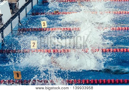 Swimming competition, color image, horizontal  image, freestyle