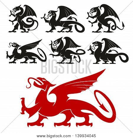 Heraldic Griffin emblem set and mythical Dragon silhouette elements for tattoo, heraldry or shield crest. Fantasy gothic mythical lion and eagle creature. Vector graphic design