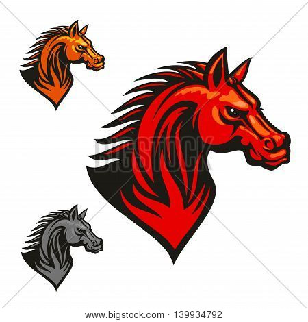 Horse stallion head. Red, yellow, gray horses with mane. Vector sketch artwork. Icon for chess or sport club emblem, team shield, icon, badge, label and tattoo poster