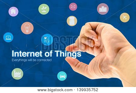 Hand holding Internet of things (IoT) word and object icon and blur background Networking concept poster