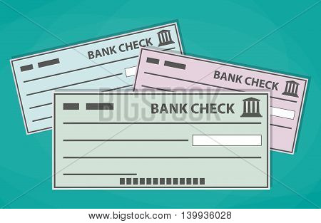 Empty blank bank checks isolated on green background. vector illustration in flat style