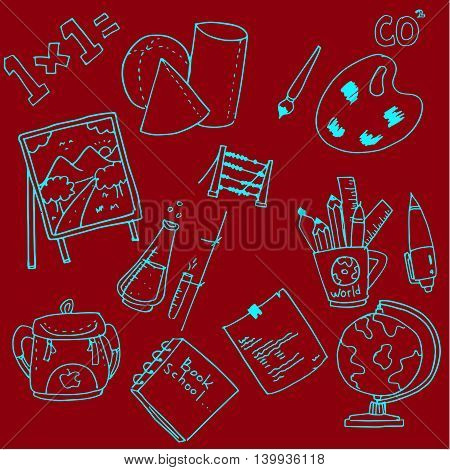 Collection stock school doodles vector on red backgrounds