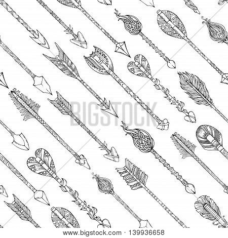 Vector Doodles Seamless Arrows Pattern.