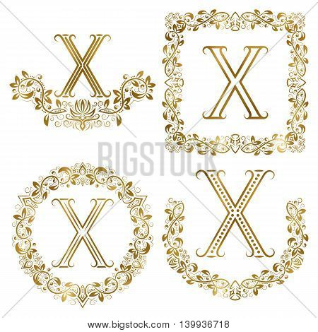 Golden X letter ornamental monograms set. Heraldic symbols in wreaths square and round frames.