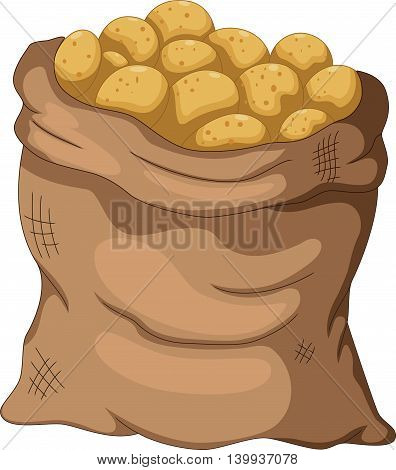 collection of potato cartoon on the sack