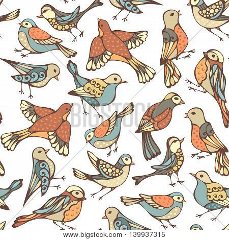 Vector Seamless Pattern Of Various Birds.