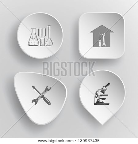 4 images: chemical test tubes, workshop, screwdriver and spanner, lab microscope. Tehnology set. White concave buttons on gray background. Vector icons.