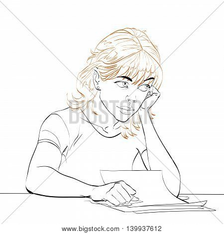 young woman writes a letter, line art vector illustration. Writer, poet, literature
