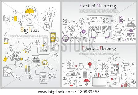 Doodle line design of web banner templates with outline icons of time management, content marketing,big idea, finance planning.Vector illustration concept for website or infographics.