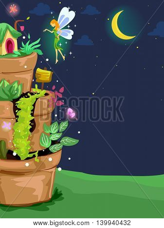Background Illustration of a Fairy Sprinkling Magical Dust on a Miniature Garden