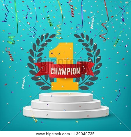Champion, winner, number one background with red ribbon, olive branch and confetti on round pedestal isolated on blue. Poster or brochure template. Vector illustration.
