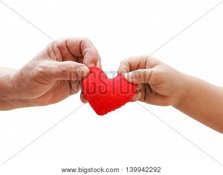 old hand of the elderly and a young hand of a baby holding a red heart together isolated