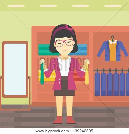 Thoughtful woman holding two neckties and trying to choose the best one. An asian upset female customer choosing necktie at clothing store. Vector flat design illustration. Square layout.