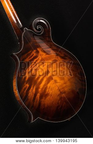 Mandolin isolated on black background, back side