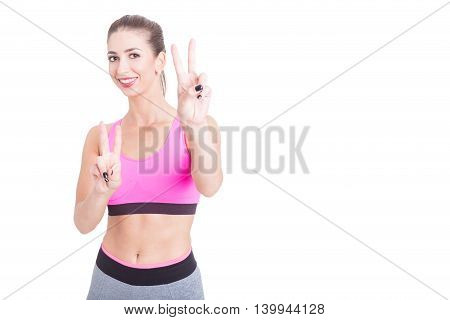 Fit Girl Wearing Tights And Bustier Showing Peace