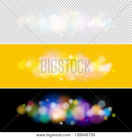Soft Bright Abstract Bokeh Background, Bright Colored Lights on Black and Yellow Backgrounds, Defocused Lights, Lights Isolated, Vector Illustration