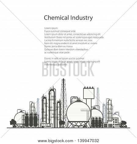 Industrial Chemical Plant, Refinery Processing of Natural Resources Isolated on White Background, Chemical Industry, Poster Brochure Flyer Design, Vector Illustration