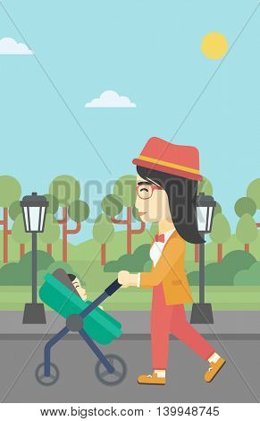 An asian young mother walking with baby stroller in the park. Mother walking with her baby in stroller. Mother pushing baby stroller. Vector flat design illustration. Vertical layout.