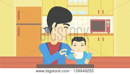 An asian father feeding baby at home. Young father teaching baby to eat with spoon. Father spoon-feeding her baby at kitchen. Vector flat design illustration. Horizontal layout.