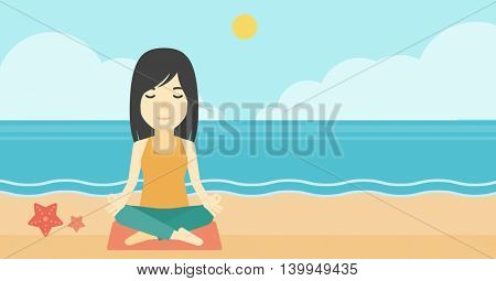 An asian young woman meditating in yoga lotus pose outdoor. Woman relaxing in the yoga lotus position. Woman doing yoga on nature. Vector flat design illustration. Horizontal layout