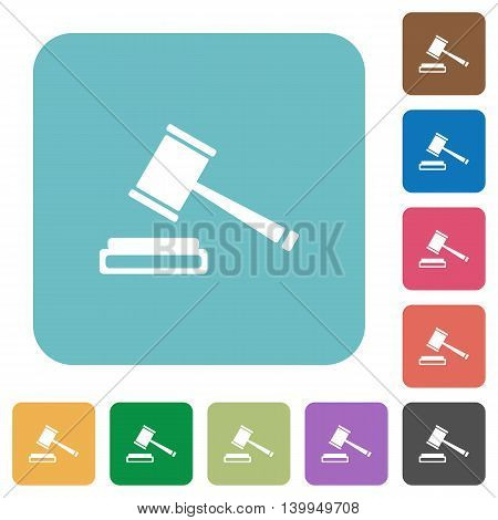 Flat auction hammer icons on rounded square color backgrounds.