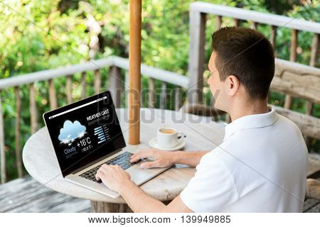 business, weather cast, people and technology concept - close up of businessman at laptop computer with meteo forecast on screen outdoors on summer terrace and drinking coffee
