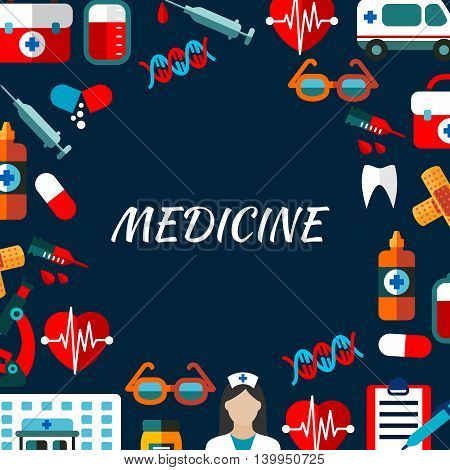 Medicine poster with icons set. Medical vector elements. Icons of health care treatments in circle round shape. Hospital infographic