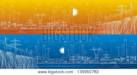 Hydro power plant, energy lines, industrial panoramic, infrastructure, day and night, vector design art poster
