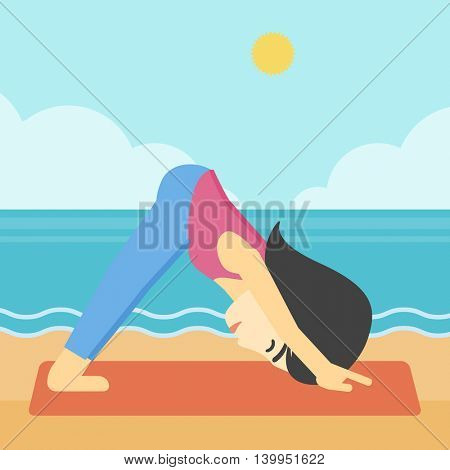 An asian young woman standing in yoga downward facing dog pose on the beach. Woman doing yoga on nature. Vector flat design illustration. Square layout.