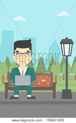 An asian young businessman working in the park. Man working on a laptop. Businessman sitting on a bench with laptop. Vector flat design illustration. Vertical layout.