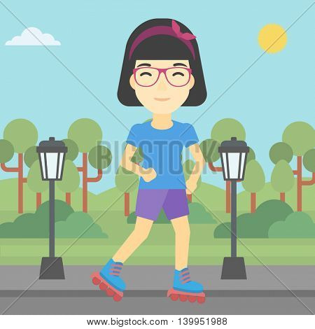 An asian young woman on roller-skates in the park. Full length of sports woman in protective sportwear on rollers skating outdoors. Vector flat design illustration. Square layout.
