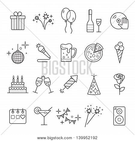 Outline web icon set - Party Birthday Holidays. Event and Celebration Outline Icons.