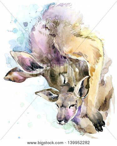 Kangaroo watercolor. Kangaroo and baby cub. Kangaroo family watercolor illustration. Motherhood watercolor background