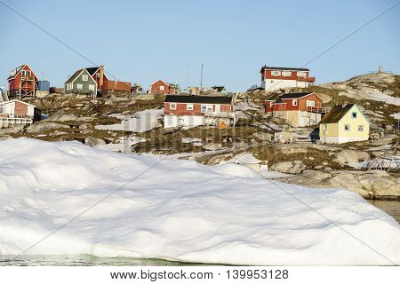Glaciers are on the arctic ocean to Ilulissat fjord, Greenland