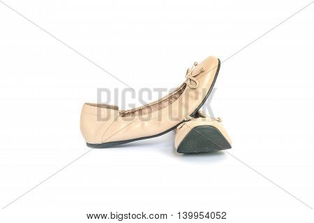 Closeup brown woman shoes isolated on white background with clipping path