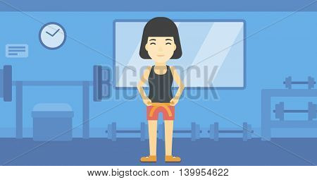 An asian young woman measuring his waistline with a tape in the gym. Woman measuring with tape the abdomen. Woman with centimeter on a waist. Vector flat design illustration. Horizontal layout