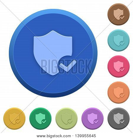 Set of round color embossed protection ok buttons