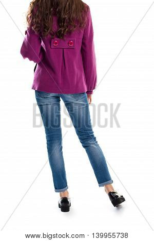 Lady wears coat and jeans. Black shoes and purple coat. Fleece outerwear and leather shoes. New collection in lookbook.
