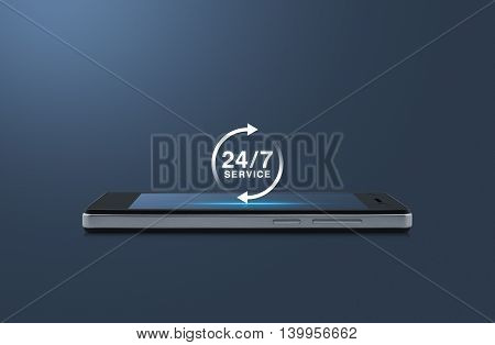 24 hours service icon on modern smart phone screen over light blue background Full time service concept