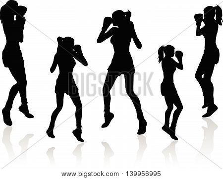 Boxer Woman Vector Silhouette