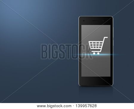 Shopping cart Icon on modern smart phone screen over light blue background Shopping online concept
