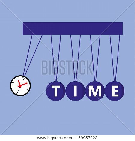 Time Management concept with a Newton pendulum where one of the balls is a clock face about to impact on the others